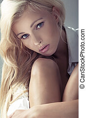 Young lady with innocent look - Young blonde lady with ...