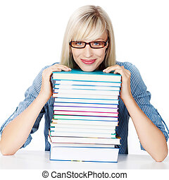 Young lady with stack of books - Young lady lying her chin...