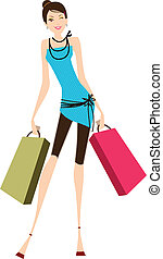 Young lady - Young beautiful lady shopping