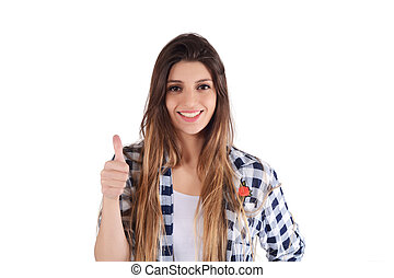 young latin woman giving thumbs up.