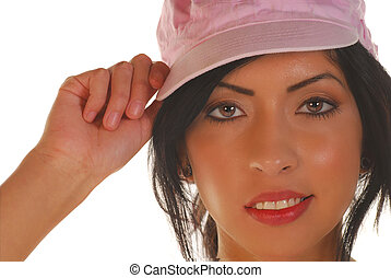 Young latino woman with a hat