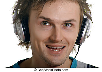 laughing men in earphones