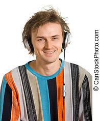 laughing men in headphones
