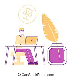 Young Lawyer Sitting at Desk on Huge Wax Stamper near Quill Pen with Scales Symbol over Head. Notary and Attorney Professional Service, Man Learning Documents Cartoon Flat Vector Illustration Line Art
