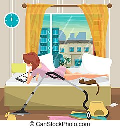Young lazy woman lies on the bed and looks at the movie on the tablet. Lazy housewife and mess in the bedroom. Flat cartoon vector illustration