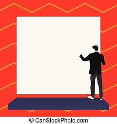 Short hair immature young man stand in front of rectangle big blank board Copy Space design Empty template text for Ad, promotion, poster, flyer, web banner, article