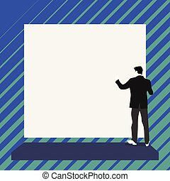 Short hair immature young man stand in front of rectangle big blank board Design business concept. Business ad for website and promotion banners. empty social media ad