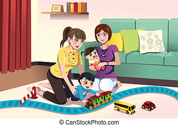 Young lesbian parents playing with their kids - A vector...