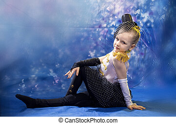 young little girl in dance costume