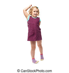 Young little girl standing over isolated white background - ...