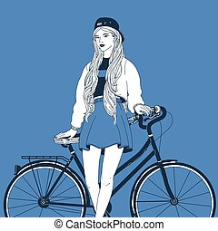 Young long-haired woman dressed in trendy clothes leaning her back on city bike. Stylish girl with bicycle drawn with contour lines on blue background. Street style outfit. Vector illustration.