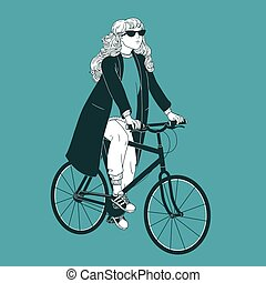 Young long-haired woman wearing sunglasses, coat and sneakers riding bike. Girl dressed in fashionable clothes on bicycle drawn with black contour lines on green background. Vector illustration.