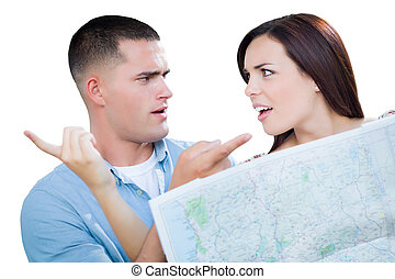 Young Lost and Confused Military Couple Looking at Map Isolated on White