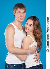 young love couple holding each other in the studio