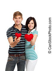 young love couple holding red heart