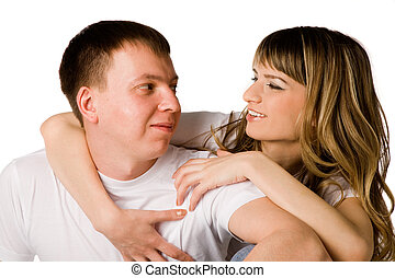 Young love couple smiling