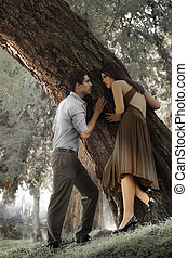 Young Love Fairytale - Portrait of young man and woman...