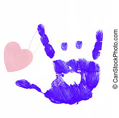 young love - finger painted hand making rock on sign with...