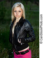 blonde in a black leather jacket