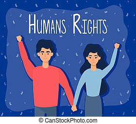 young lovers couple with human rights label vector...
