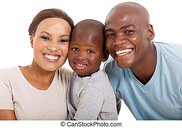 young loving african american family isolated on white
