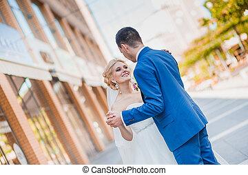 Young loving wedding couple