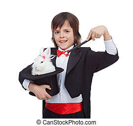 Young magician boy with cute rabbit in his magic hat - Young...