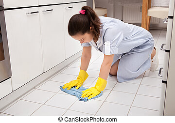 Young Maid Cleaning Floor - Portrait Of Young Maid Wearing...