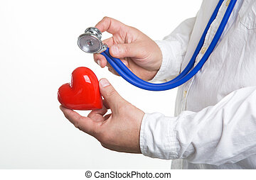 young mail doctor holding red heart in his hand.