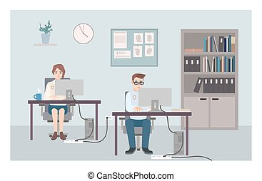 Young male and female police officers sitting at desks and investigating crimes. Policemen or cops working at computers at criminal investigation office. Flat cartoon characters. Vector illustration.