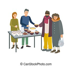 Young male and female volunteers feeding poor homeless people isolated on white background. Man and woman giving food to beggars on street. Voluntary altruistic activity. Cartoon vector illustration.