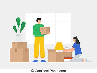 Young male and woman, family character holds a cardboard box in home interior. Concept moving to new house, relocation. Flat vector illustration in a modern style.