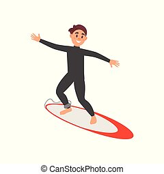 Young male athlete engaged in surfing. Guy on surfboard. Extreme water sport. Colorful flat vector design