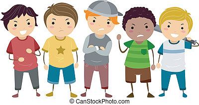 Young Male Bullies - Stickman Illustration Featuring a Group...