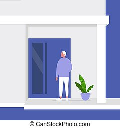 Young male character standing next to a front door, building entrance, residential property