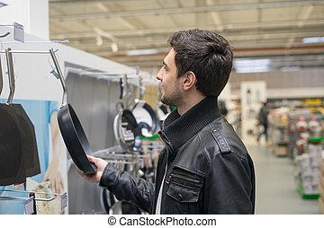 male customer choosing