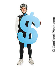 Young Male Cyclist Holding Dollar Sign Isolated On White Background
