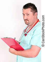 Young male doctor holding clip-board