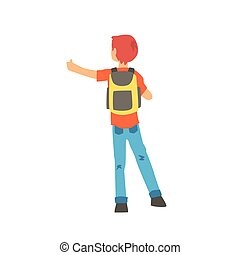 Young male hitchhiker traveling with backpack, man trying to stop a car on a highway by hand, back view, travelling by autostop cartoon vector Illustration