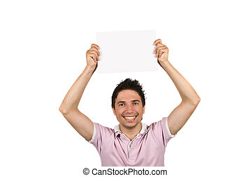 Young male holding a blank page over his  head