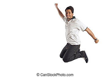 Young male jumping in joy