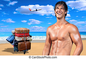 Young male model on the beach