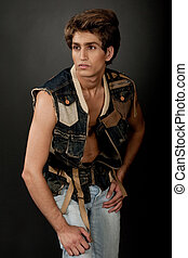 Young male model posing