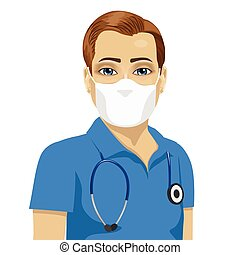 young male nurse wearing surgical antiviral mask over white...