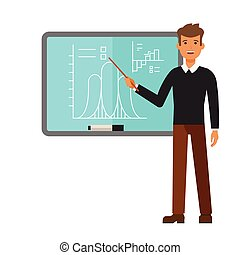 young male teacher on lesson at blackboard cartoon flat vector illustration concept on isolated white background