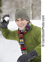 Young Man About To Throw Snowball