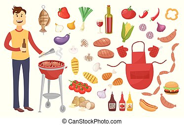 Young man and BBQ party elements isolated on white background.Products BBQ,steak, fish meat, beef, vegetables, herbs, fast food , wine and beer. The elements of the meal in a frame of sausages