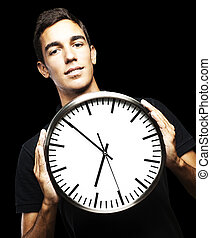 young man and clock