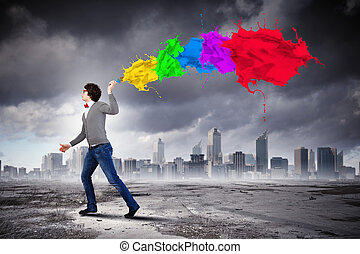 Young man and colour splash - Young man with a splash ...