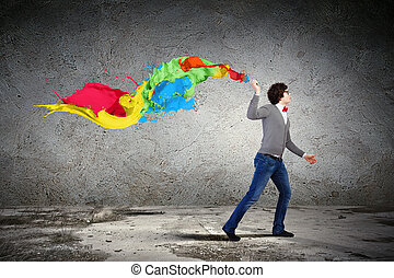 Young man and colour splash - Young man with a splash...